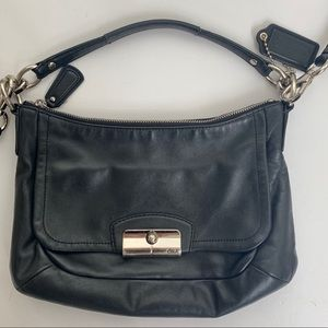 COACH Classic Black Leather Crossbody Hobo F22308